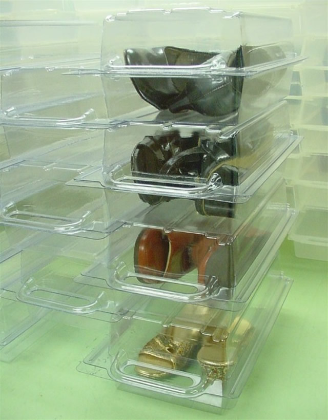 Shoe sized containers Internal dimensions are: 12 deep and 4.75 wide